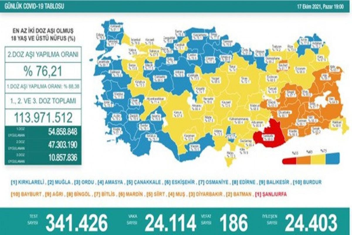 Türkiyədə bu gün koronavirusdan 186 nəfər ölüb