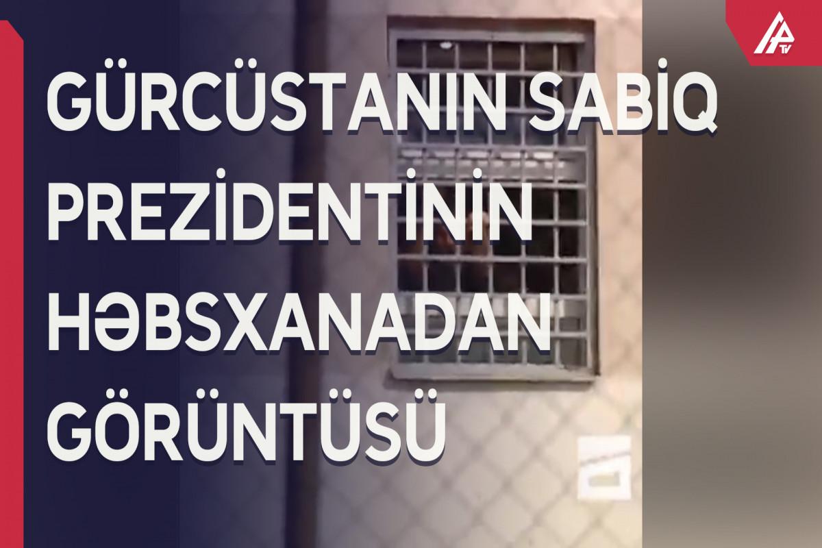 Saakaşvili həbsxananın pəncərəsindən baxır - GÖRÜNTÜ