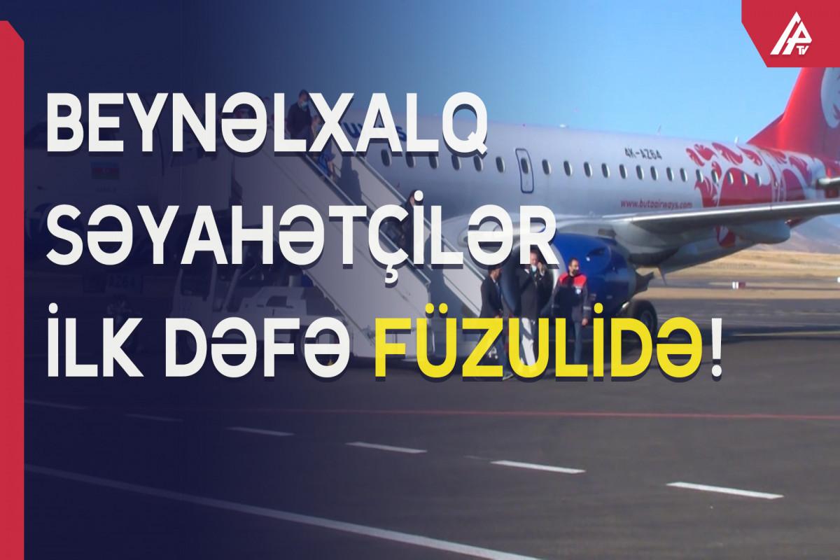 Beynəlxalq səyahətçilər Füzuli aeroportuna kommersiya təyinatlı uçuş ilə ilk dəfə Qarabağa səfər edib