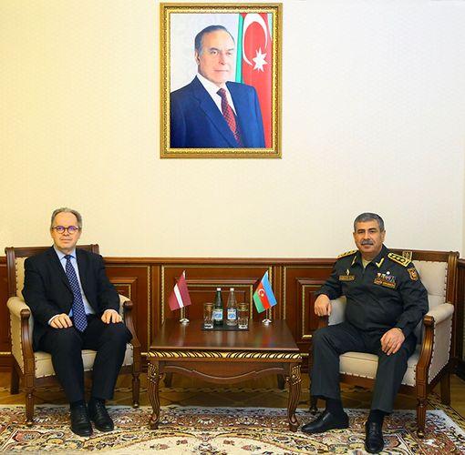 Azerbaijan Defense Minister meets with Latvian new ambassador