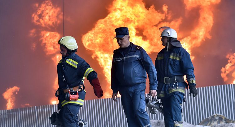 College building engulfed in flames, threatens to collapse in Odessa, Ukraine