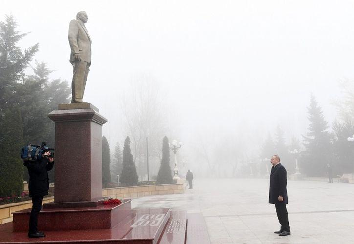 President Ilham Aliyev arrives in Shamakhi district for visit