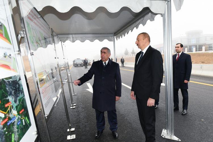 Президент Ильхам Алиев принял участие в открытии 101-117-км участка автомобильной дороги Баку-Шамахы-Евлах