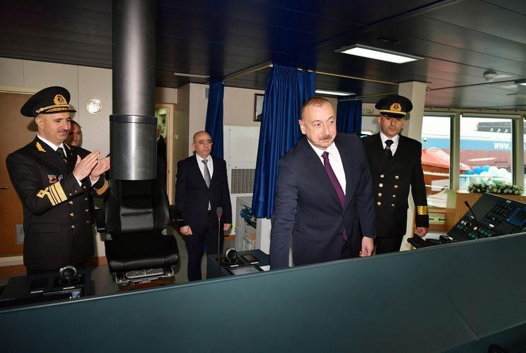Президент Ильхам Алиев принял участие в церемонии сдачи в эксплуатацию первого танкера, построенного на Бакинском судостроительном заводе