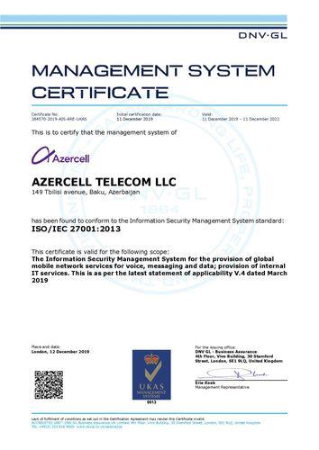 """""""Azercell"""" Azərbaycanda İSO/IEC 27001 sertifikatını alan ilk mobil operator oldu"""