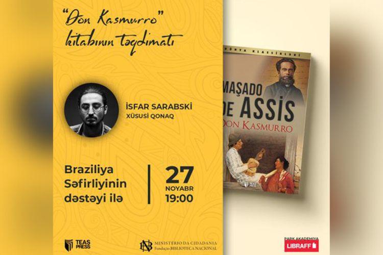 """Maşado de Assisin """"Don Kasmurro"""" kitabının təqdimatı keçiriləcək"""