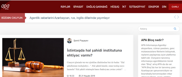 APA Blog section of APA Information Agency launched