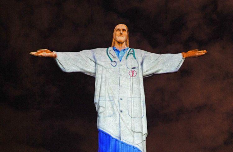 Brazil's Christ the Redeemer lit up to honour medics
