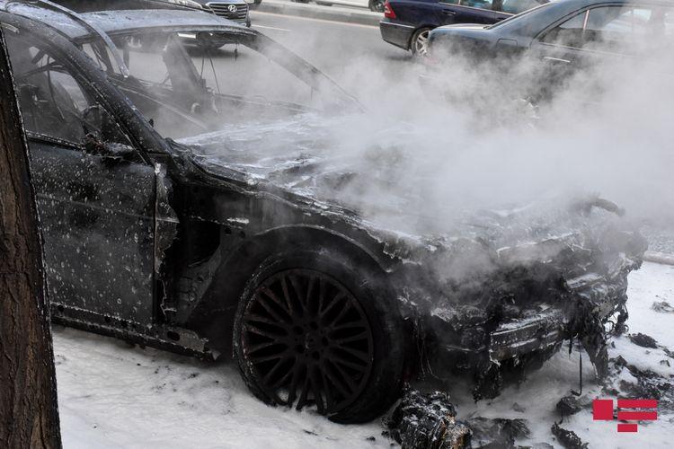 Salyan və Ağstafada avtomobil yanıb