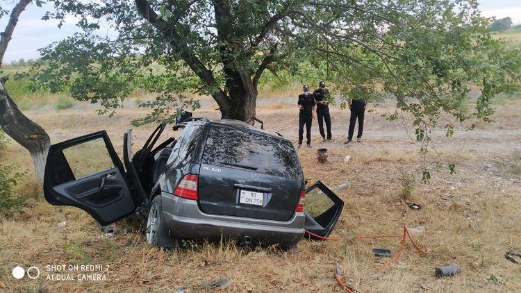 """Şabranda """"Mercedes"""" markalı minik avtomobili ağaca çırpılıb, 2 nəfər ölüb - <span class="""