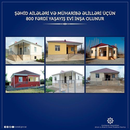 800 individual residential houses being built for martyrs' families and disabled war veterans