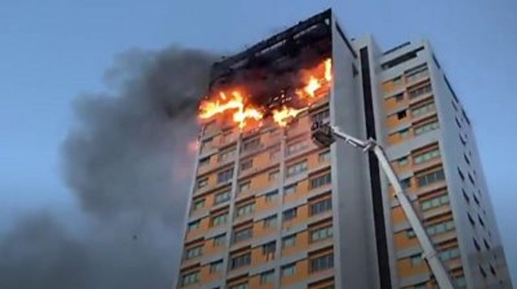Fire breaks out in Madrid tower block