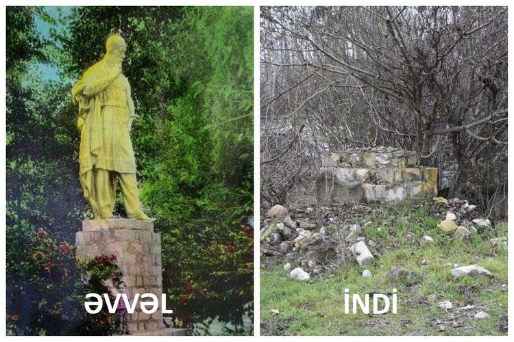 Məhəmməd Füzulinin Füzuli şəhərinin mərkəzindəki heykəlinin qalıqları tapılıb - FOTOLAR - VİDEO