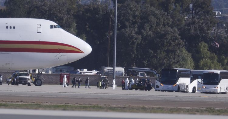 About 350 U.S. evacuees from China en route to California, says Pentagon