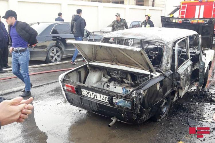 В Газахе сгорел автомобиль