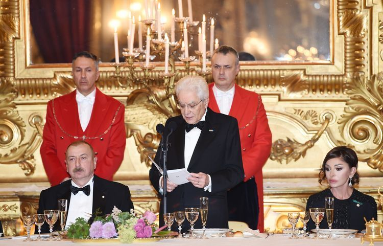 State dinner hosted in honor of President Ilham Aliyev in Rome