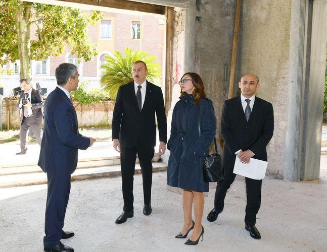 Президент Ильхам Алиев и Мехрибан Алиева ознакомились в Риме со зданием, предназначенным для Центра азербайджанской культуры  - ФОТО