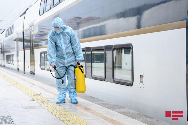 ЗАО «Азербайджанские железные дороги» проводит дезинфекцию против коронавируса - ФОТО