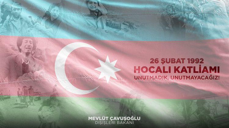 """Çavuşoğlu: """"Xocalı qətliamının acısına dərindən şərikik"""""""