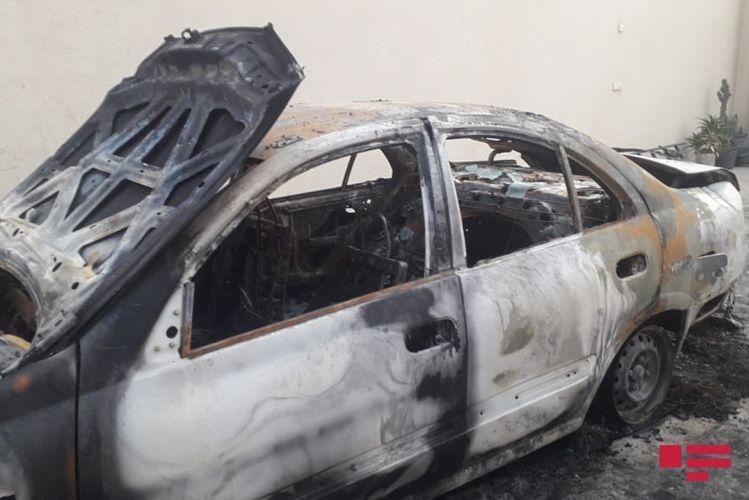 На дороге Баку-Сумгайыт сгорел автомобиль
