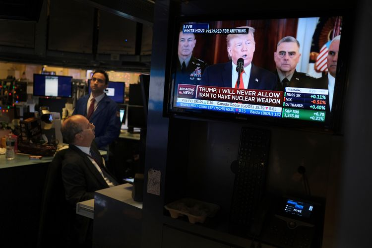 Oil prices plunge as Trump speech eases Iran fears