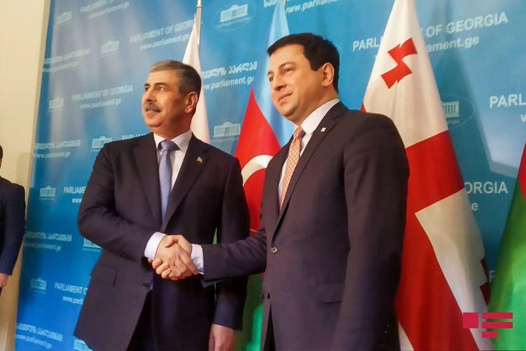 Zakir Həsənov Gürcüstan parlamentinin sədri ilə görüşüb - FOTO