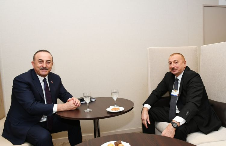 President Ilham Aliyev met with Turkish Foreign Minister in Davos
