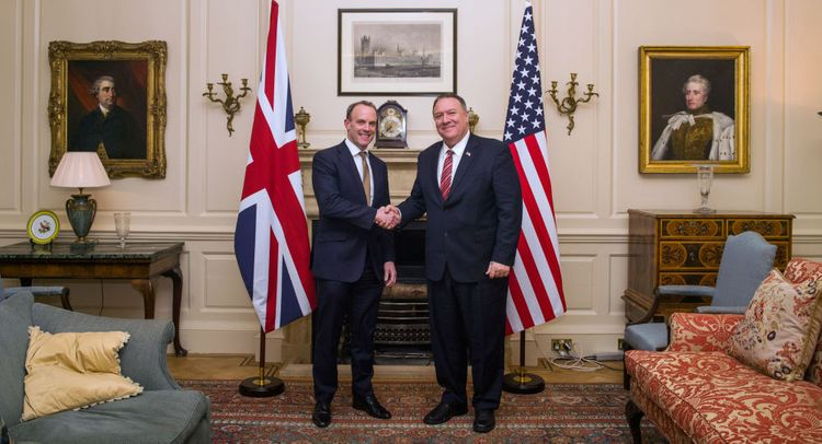 US Secretary of State Mike Pompeo meets his counterpart Dominic Raab