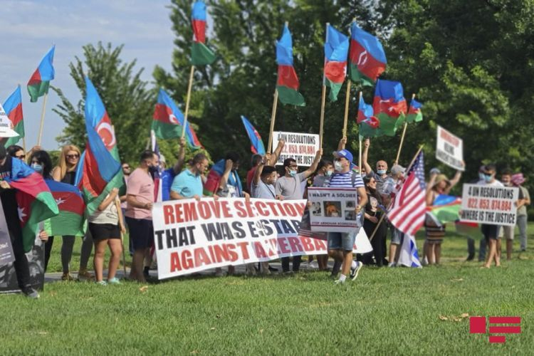 A rally in support of the Azerbaijani Army is being held in Washington - <span class=