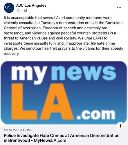 Две крупнейшие еврейские организации мира осудили нападения армян на азербайджанцев в Лос-Анджелесе - <span class='red_color'>ФОТО</span>