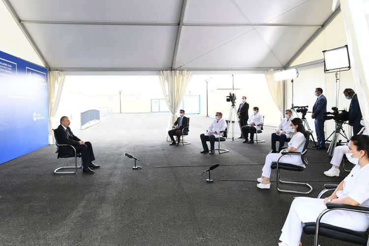 President Ilham Aliyev viewed the conditions created in modular hospital in Shaki
