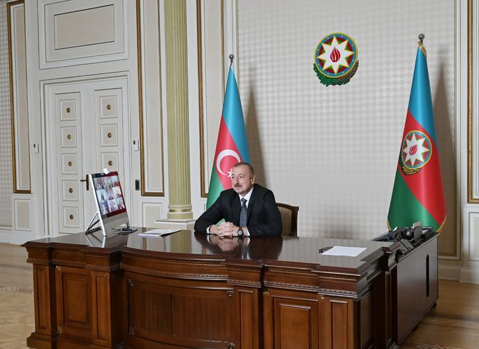 Video conference between President Ilham Aliyev, newly appointed vice president and other representatives of World Bank held