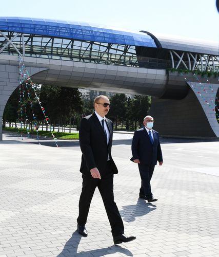 President Ilham Aliyev attended opening of above-ground pedestrian crossing in Neapol Street, Baku