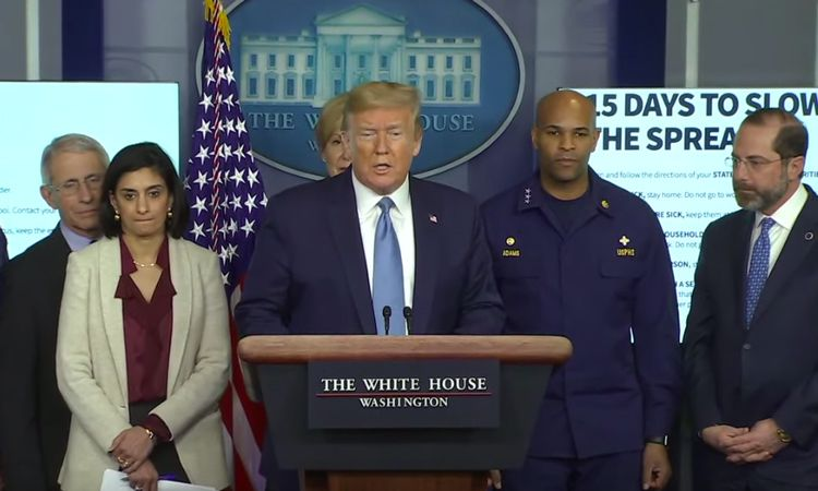 US President Donald Trump delivers speech on COVID-19 - <span class=