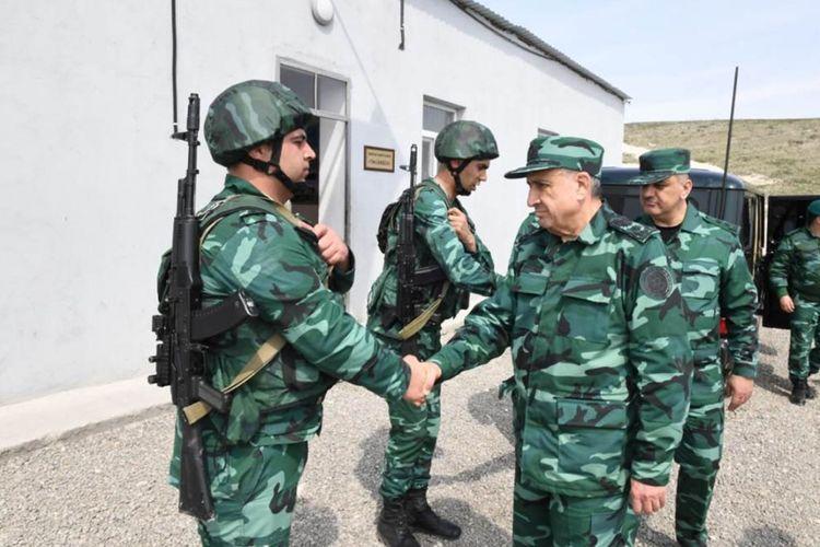 Maharram Aliyev and Elchin Guliyev visited military unit on the border with Armenia