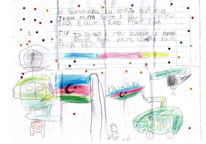 Десятилетний гражданин Бразилии направил письмо азербайджанским солдатам  - ФОТО