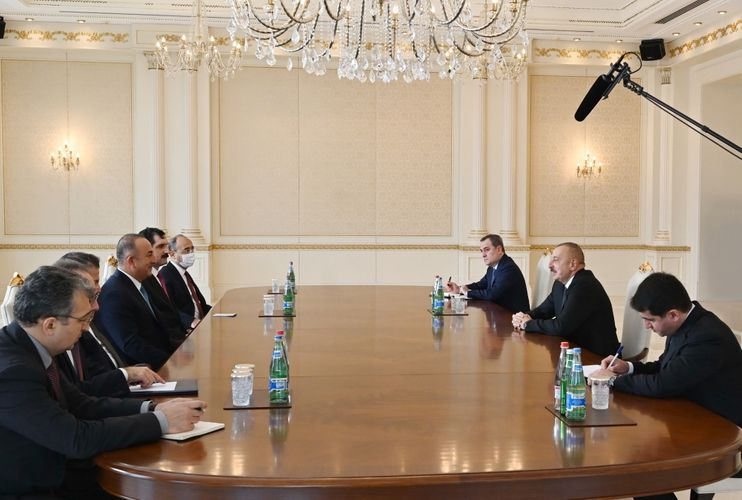 President Ilham Aliyev received delegation led by Turkish Foreign Minister