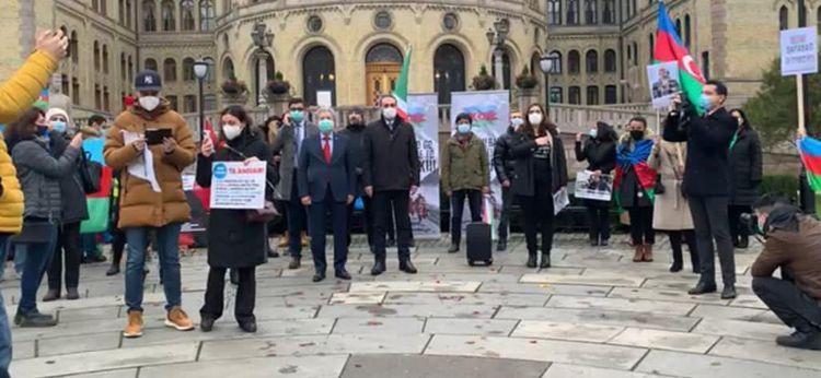 Проживающие в Осло азербайджанцы провели акцию перед зданием парламента - ФОТО