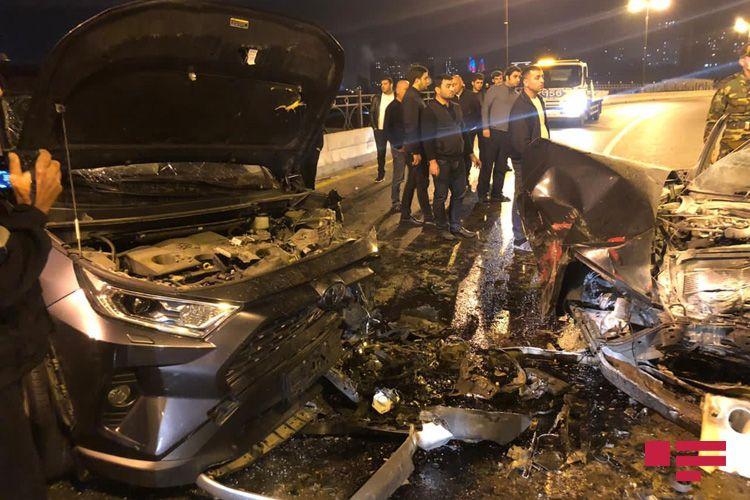 Bakıda iki avtomobil toqquşub, bir nəfər ölüb - FOTO