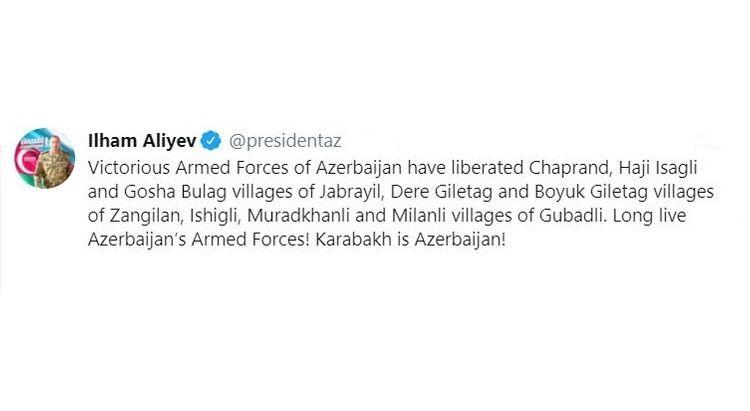 Azerbaijani Army liberated 8 more villages of Jabrayil, Zangilan and Gubadli districts