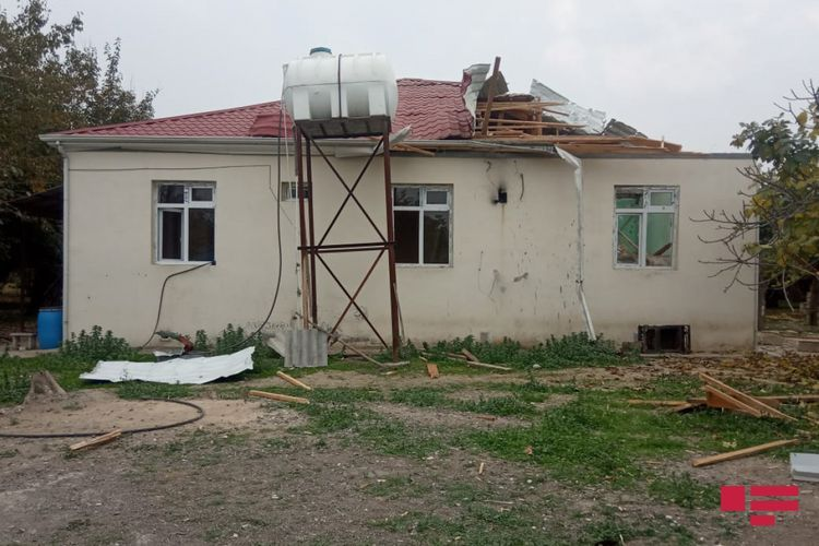 Projectile, shelled by Armenians, hits a residential house in Aghjabadi - PHOTO