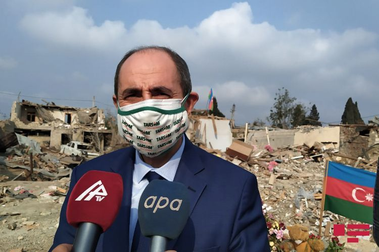 Delegation from Turkey attended destructed houses in Azerbaijan's Ganja - PHOTO