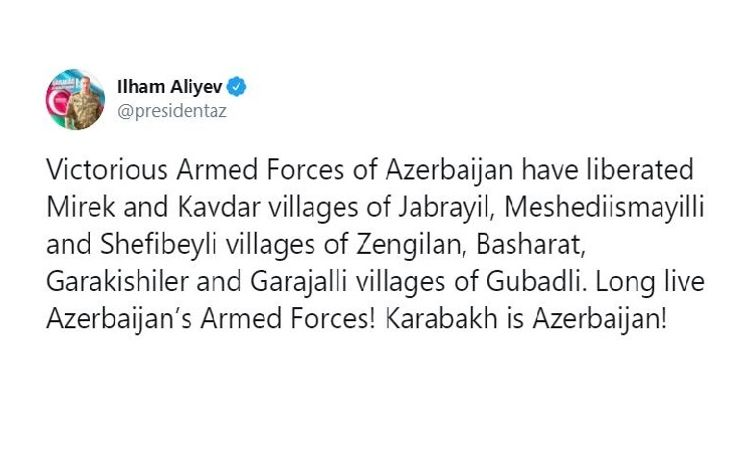 Azerbaijani Army liberated 7 more villages from Armenian occupation