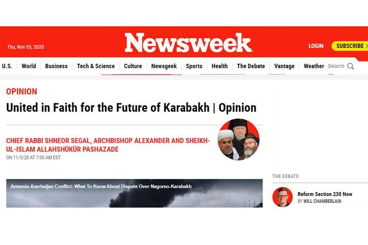 Schneor Segal, Alexander Ata and Allahshukur Pashazade responded to those who presented the events in Nagorno-Karabakh as a religious war - ARTICLE