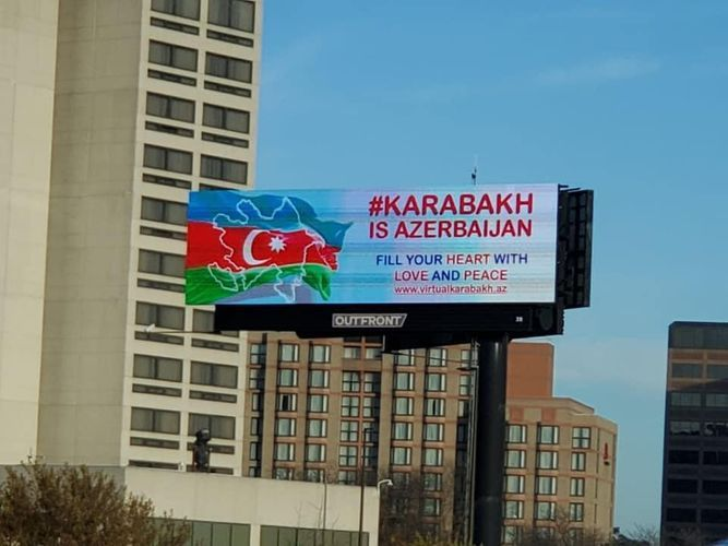 """Boards with the slogan """"Karabakh is Azerbaijan"""" hung on roads of Chicago"""