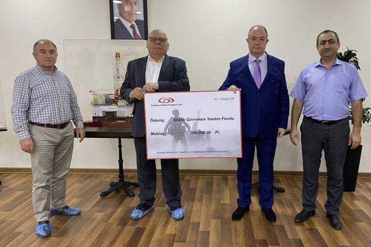 Caspian Drilling Company в очередной раз перечислила средства в Фонд помощи ВС Азербайджана