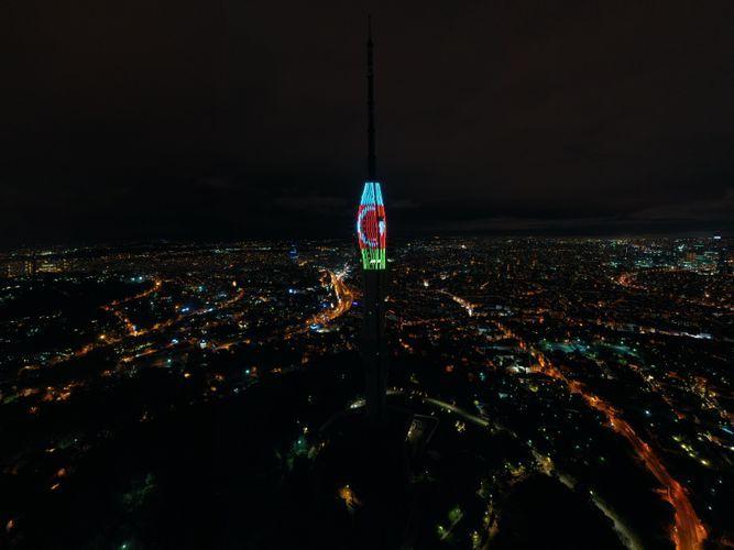 В Стамбуле башня Чамлыджа освещена цветами флагов Азербайджана и Турции