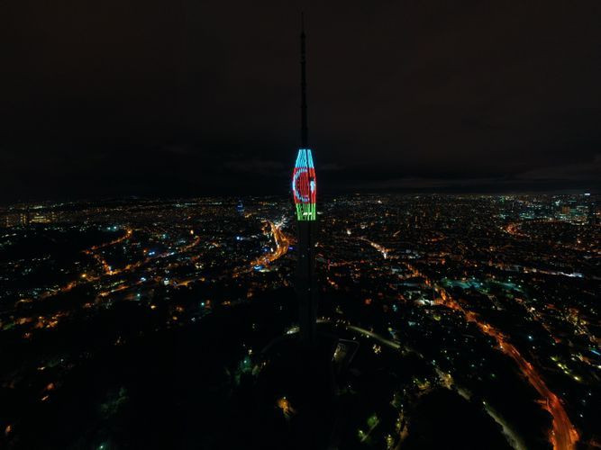 Chamlica Tower in Istanbul is illuminated with the colors of the Azerbaijani and Turkish flags