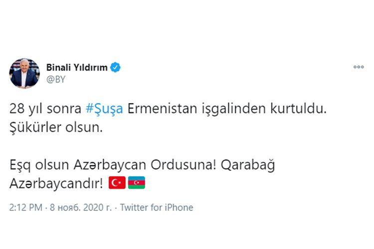 """Binəli Yıldırım: """"Eşq olsun, Azərbaycan Ordusuna, Qarabağ Azərbaycandır!"""""""