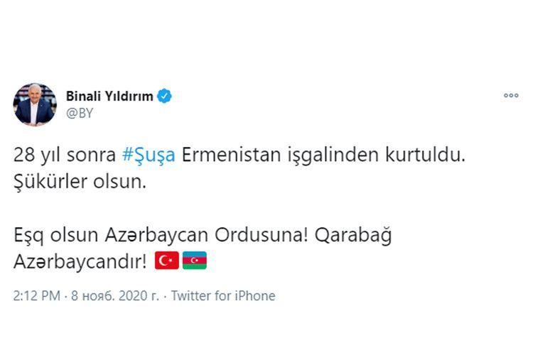 Бинали Йылдырым: Слава Азербайджанской Армии, Карабах – это Азербайджан